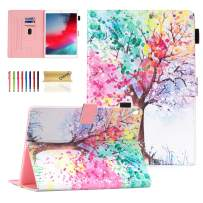 """Dteck Flip Case for iPad Air 3 10.5-inch 2019 and iPad Pro 10.5"""" 2017 - Soft TPU Back Cover Protective Smart Leather Shockproof Case with Adjustable Stand/Pencil Holder/Auto Wake Sleep (Color Tree)"""