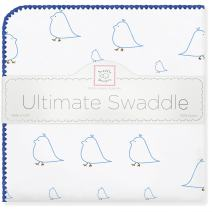 SwaddleDesigns Ultimate Swaddle, X-Large Receiving Blanket, Made in USA, Premium Cotton Flannel, Bright Blue Mama and Baby Chickies (Mom's Choice Award Winner)