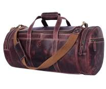 Full Grain Leather Travel Duffle Barrel Bag With Adjustable Straps | Large Compartment & Zippered Side Pockets Weekend Overnight Bag (Walnut, 20 Inch)