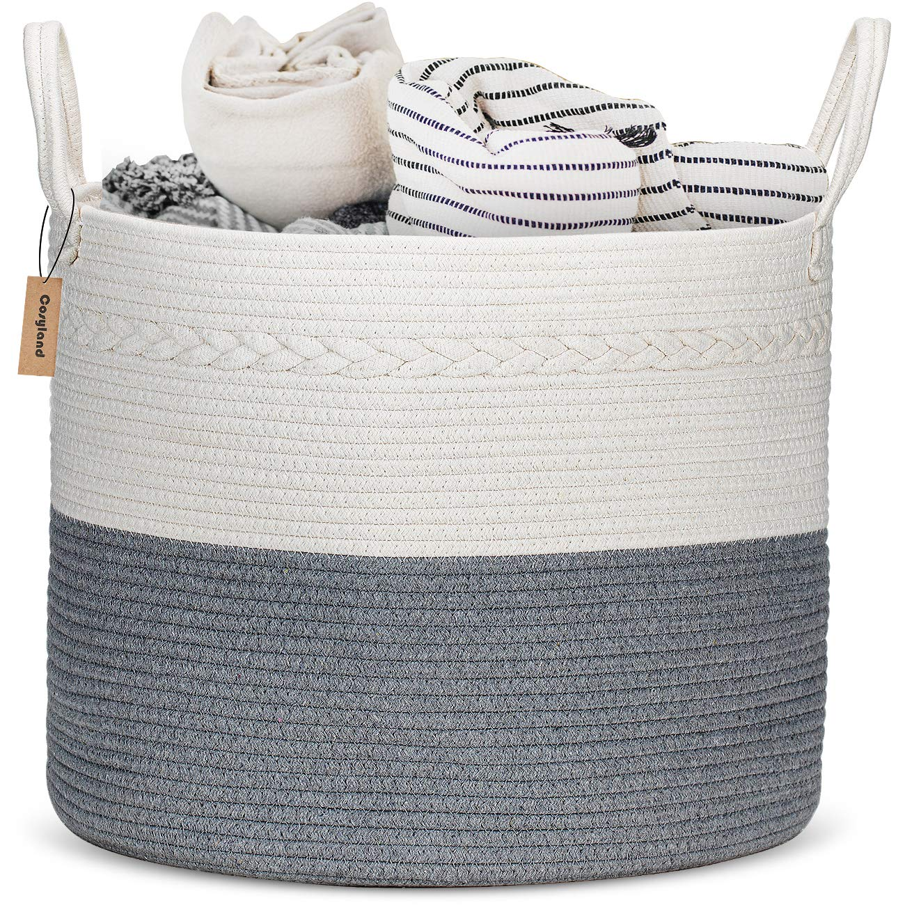 """COSYLAND Extra Large Woven Storage Basket 17""""x 17""""x15"""" Cotton Rope Organizer Baby Laundry Baskets for Blanket Toys Towels Nursery Hamper Bin with Handle"""