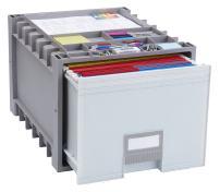 Storex Plastic Archive Storage Box, Letter Size, 18-Inch Drawer, Gray, Case of 2 (61172U02C)