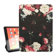 Hepix New iPad 10.2 Case Floral iPad 7th Generation Case 2019 with White Red Roses, Protective FlexibleiPad Cover with Pencil Holder, Auto Wake/Sleep Trifold Stand for Viewing/Typing Shock Absorption