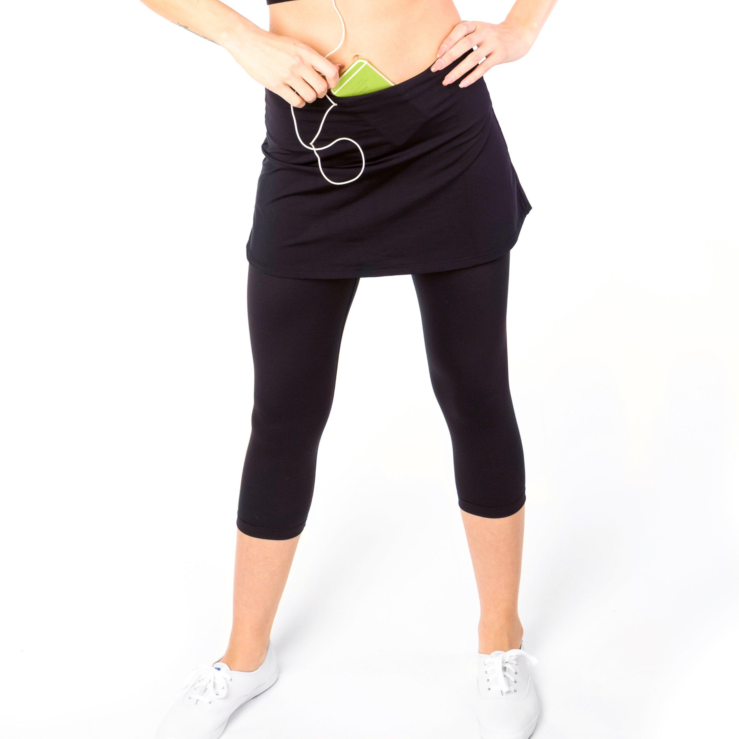 Sport-it Womens Capri Skirt, Active Skapri with Pockets, Running Skirted Leggings, Athletic Skort