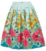 Women's Vintage Pleated A-line Skirt Knee Length