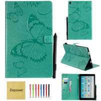 All-New Fire HD 10 Tablet(7th Generation/9th Generation, 2017/2019 Release), Elepower Butterfly Embossed Folio Folding Stand Cover with Card Stylus Holder for Kindle 10.1 Inch Tablet, Green