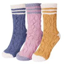 Fuzzy Socks for Women Winter Home Soft Cozy Warm Sleep Sock 3 to 8 Pairs (Twist Knit B(3 pack))