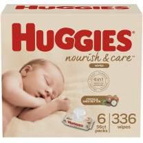 Huggies Nourish & Care Baby Wipes, Sensitive Skincare, Scented, 6 Flip-Top Packs, 56 Count (336 Wipes Total)