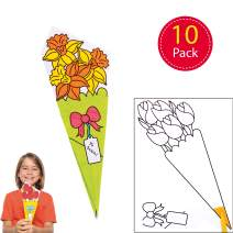 Baker Ross Colour-in Flower Bouquets — Creative Art and Craft Supplies for Kids to Make and Decorate (10 Pack)