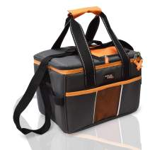 POLAR PACK 18 Can Double Handle Square Box Collapsible Cooler Bag Soft Portable Insulated Picnic Bag Outdoor Indoor Travel Lunch Bag for Camping, School, Travel & Sports (Charcoal/Orange)