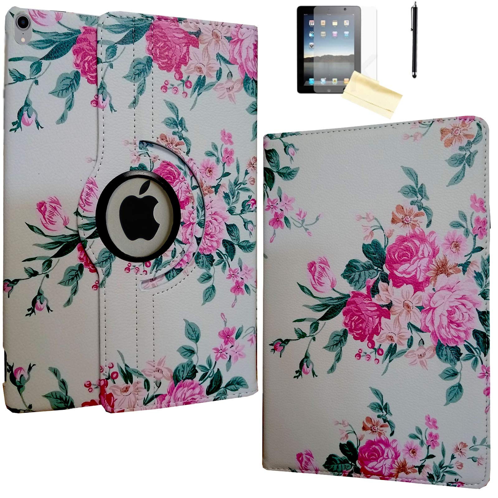 JYtrend Case for iPad Pro 11 Inch 2018, [Support Pencil Charging] Rotating Stand Smart Case Magnetic Auto Wake Up/Sleep Cover for iPad Pro 11 Model A2013 A1980 A1979 A1934 (Peony)