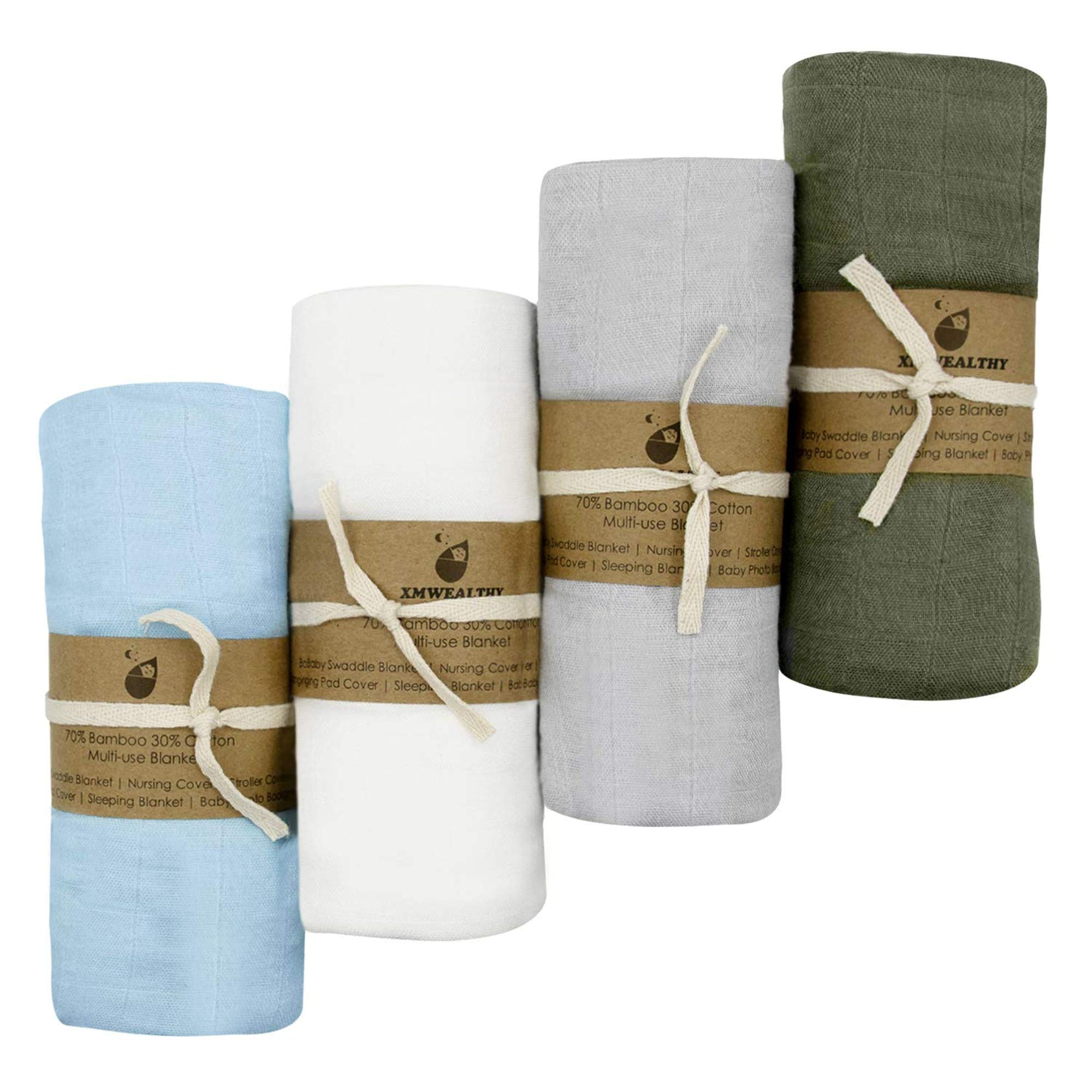 """XMWEALTHY 4 Packs Soft Swaddle Blankets Sets 47"""" x 47"""" Organic Baby Receiving Blankets Muslin Baby Wraps Sets for Boys & Girls Ideal Newborn Gifts"""