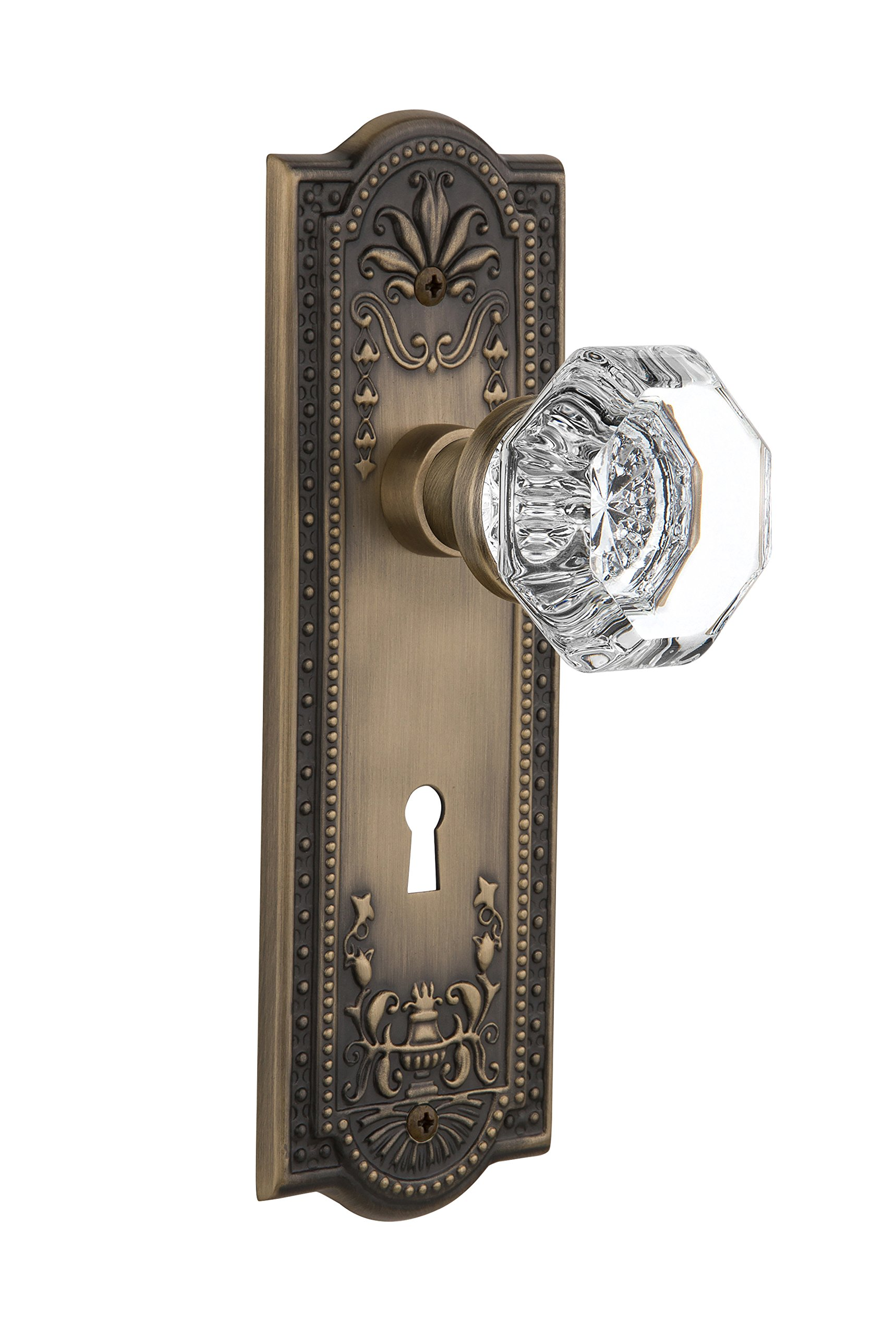 """Nostalgic Warehouse Meadows Plate with Keyhole Waldorf Crystal Knob, Passage - 2.375"""", Antique Brass"""