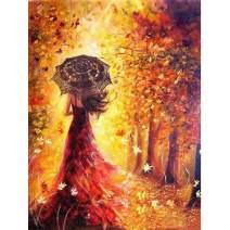 MXJSUA DIY 5D Diamond Painting Full Square Drill Kits Rhinestone Picture Art Craft for Home Wall Decor 12x16In Autumn Beautiful Woman