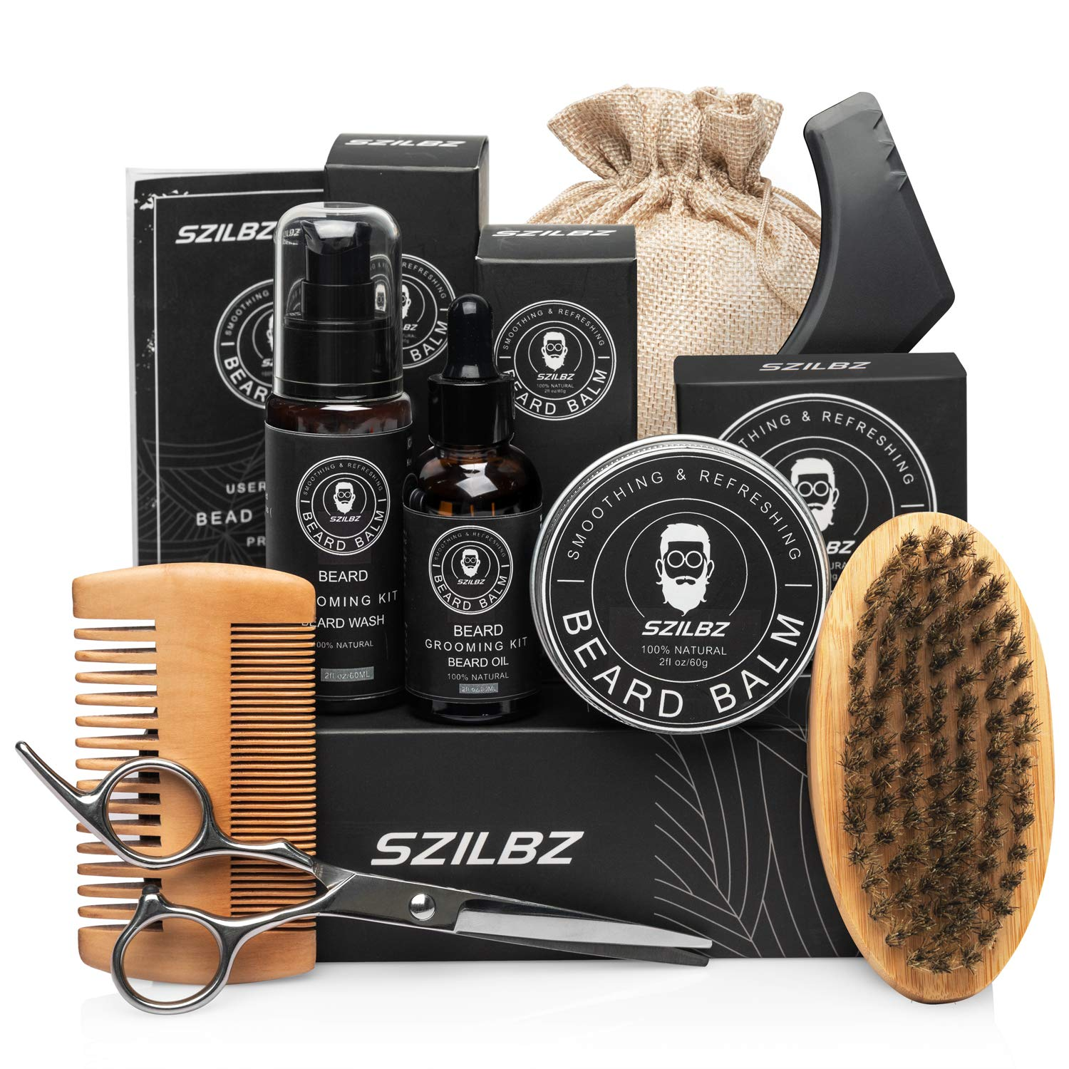SZILBZ Beard Care Kit for Men Grooming Balm Oil Shampoo Wash Brush Comb Scissors Natural Mild Gifts Use Dating Party Wedding
