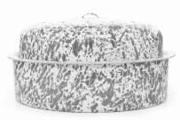 Enamelware Large Oval Turkey Roaster, Grey/White Splatter