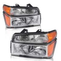 Headlight Assembly Compatible with 2004-2012 Chevy Colorado/GMC Canyon Chrome Housing with Amber Reflector + Bumper Lights (Passenger and Driver Side)