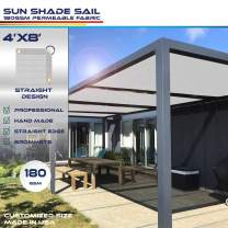 Windscreen4less Straight Edge Sun Shade Sail,Rectangle Outdoor Shade Cloth Pergola Cover UV Block Fabric 180GSM - Custom Size Light Grey 4' X 8'