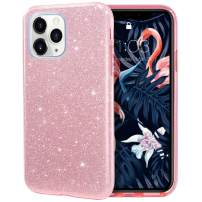MILPROX iPhone 11 Pro Max Case, Bling Sparkly Glitter Luxury Shiny Sparker Shell, Protective 3 Layer Hybrid Anti-Slick Slim Soft Cover for iPhone 11 Pro Max 6.5 inch (2019)-Pink