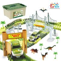 ToyVelt Dinosaur Toys Race Track Toy Set - 206pcs Create A Dinosaur World Road Race,Flexible Track Playset - Includes 2 Cars and Container Best Gift for Christmas Boys & Girls Ages 3,4,5,6, Years Old