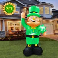 inslife 7 Ft Inflatable St. Patrick's Day Lighted Leprechaun Holding a Shamrock for Home Yard Lawn Garden Indoor Outdoor