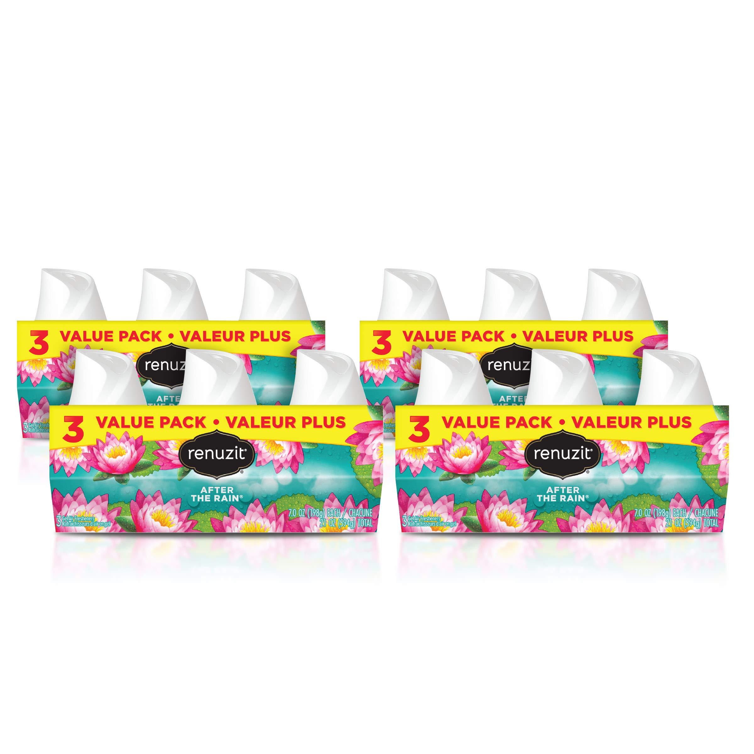 Renuzit Gel Air Freshener, After The Rain, 3 Pack, 4Count, 12 Total Air Fresheners