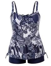 Hanna Nikole Plus Size Tankini Swimsuits for Women Two Piece Swim Top Shorts Tummy Control Bathing Suits
