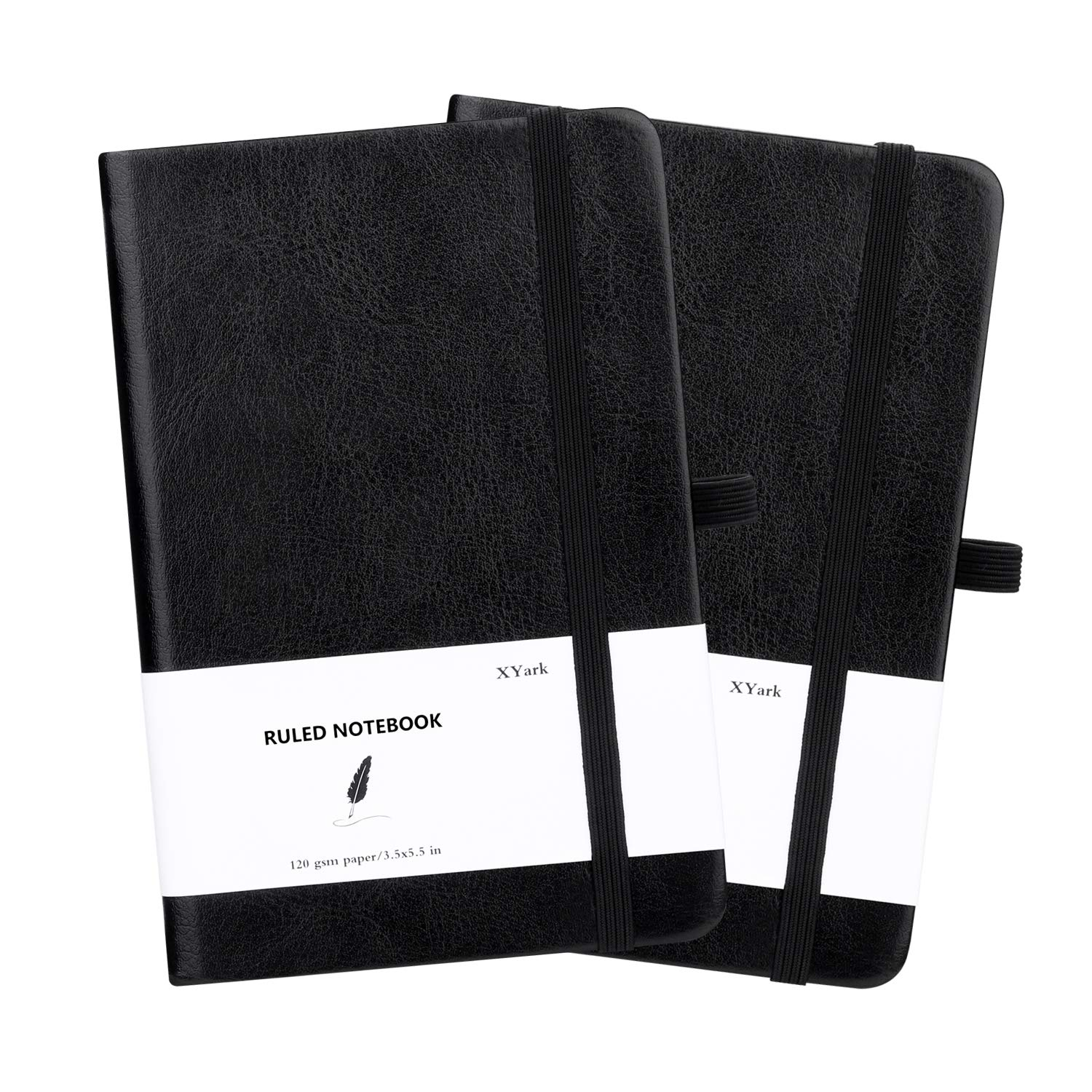 XYark Small Pocket Hard Cover Notebook Journal Bulk, College Ruled, 120GSM Thick Lined Paper with Pen Loop, Black Faux Leather for Travel Memo Writing Diary Planner Notepad, 3.5×5.5 inch, 2 Pack