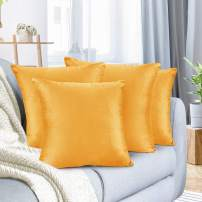 """Nestl Bedding Throw Pillow Cover 16"""" x 16"""" Soft Square Decorative Throw Pillow Covers Cozy Velvet Cushion Case for Sofa Couch Bedroom, Set of 4, Orange"""