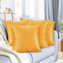 """Nestl Bedding Throw Pillow Cover 18"""" x 18"""" Soft Square Decorative Throw Pillow Covers Cozy Velvet Cushion Case for Sofa Couch Bedroom, Set of 4, Orange"""