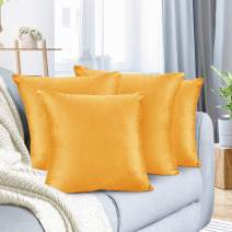 """Nestl Bedding Throw Pillow Cover 26"""" x 26"""" Soft Square Decorative Throw Pillow Covers Cozy Velvet Cushion Case for Sofa Couch Bedroom, Set of 4, Orange"""