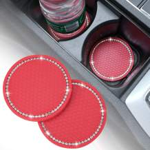DIY12345 2 Pack Bling Car Cup Holder Coasters, 2.75 Inch Soft Rubber Pad Set Diamond Round Auto Cup Holder Insert Drink Coaster Car Interior Accessories (Red)