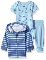 Hanes Ultimate Baby Flexy Jogger with Bodysuit and Zippin Knit Hoodie Set, Blue