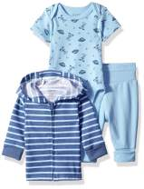 Hanes Ultimate Baby Flexy Jogger with Bodysuit and Zippin Knit Hoodie Set