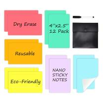"""Dry Erase Sticky Notes - 6 Colors Reusable Whiteboard Stickers 4""""x2.5"""" - 12 Pack. Suitable for All Smooth Surface. Its Washable, Removable and Eco-Friendly !"""