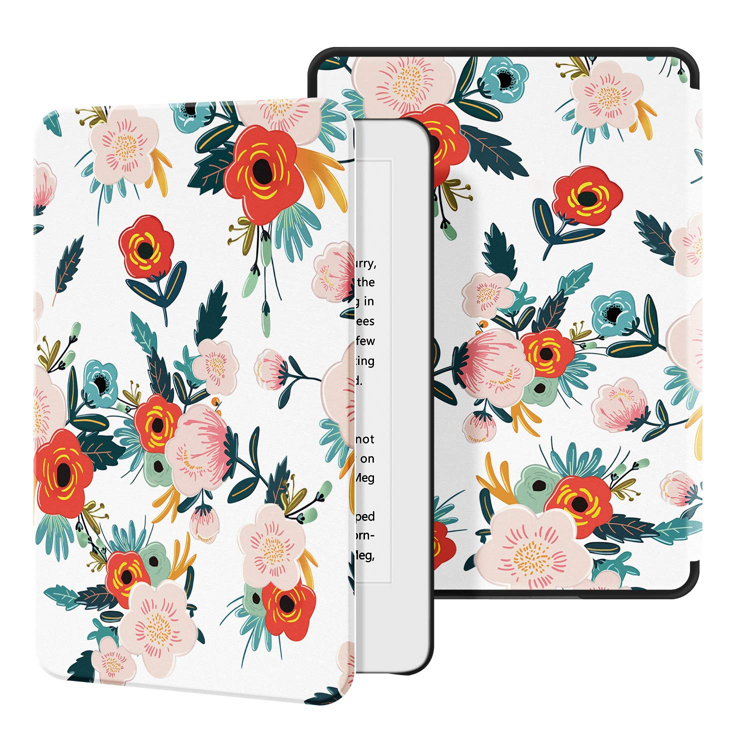 Ayotu Slim Case for All-New Kindle(10th Gen, 2019 Release) - PU Leather Cover with Auto Wake/Sleep-Fits Amazon All-New Kindle 2019(Will not fit Kindle Paperwhite or Kindle Oasis), Flowers