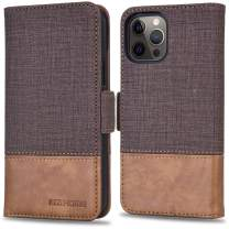 KEZiHOME Case for iPhone 12 Pro Max, PU Leather [RFID Blocking] 5G Wallet Case Flip Magnetic Cover Card Slot Kickstand Case Compatible with iPhone 12 Pro Max (6.7 inch) (Coffee/Brown)