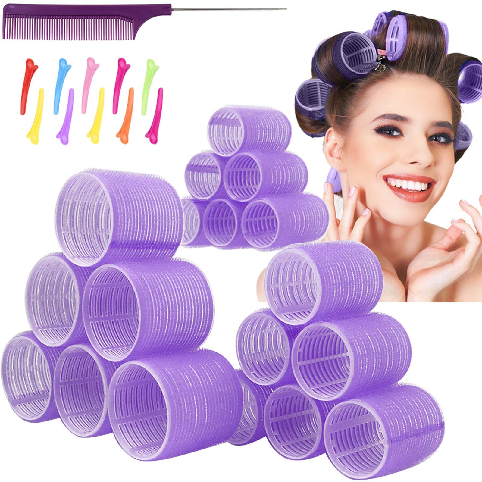 Jumbo Hair Rollers Hair Curlers. 2.5 inch Large Self Grip Hair Curlers for Long Hair, Big Hair Rollers for Long Hair. No heat Curlers Hair Rollers with Clips & Comb.18 Pack