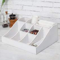 MyGift 9-Compartment Vintage White Tabletop Condiment Holder, Coffee and Tea Storage Caddy