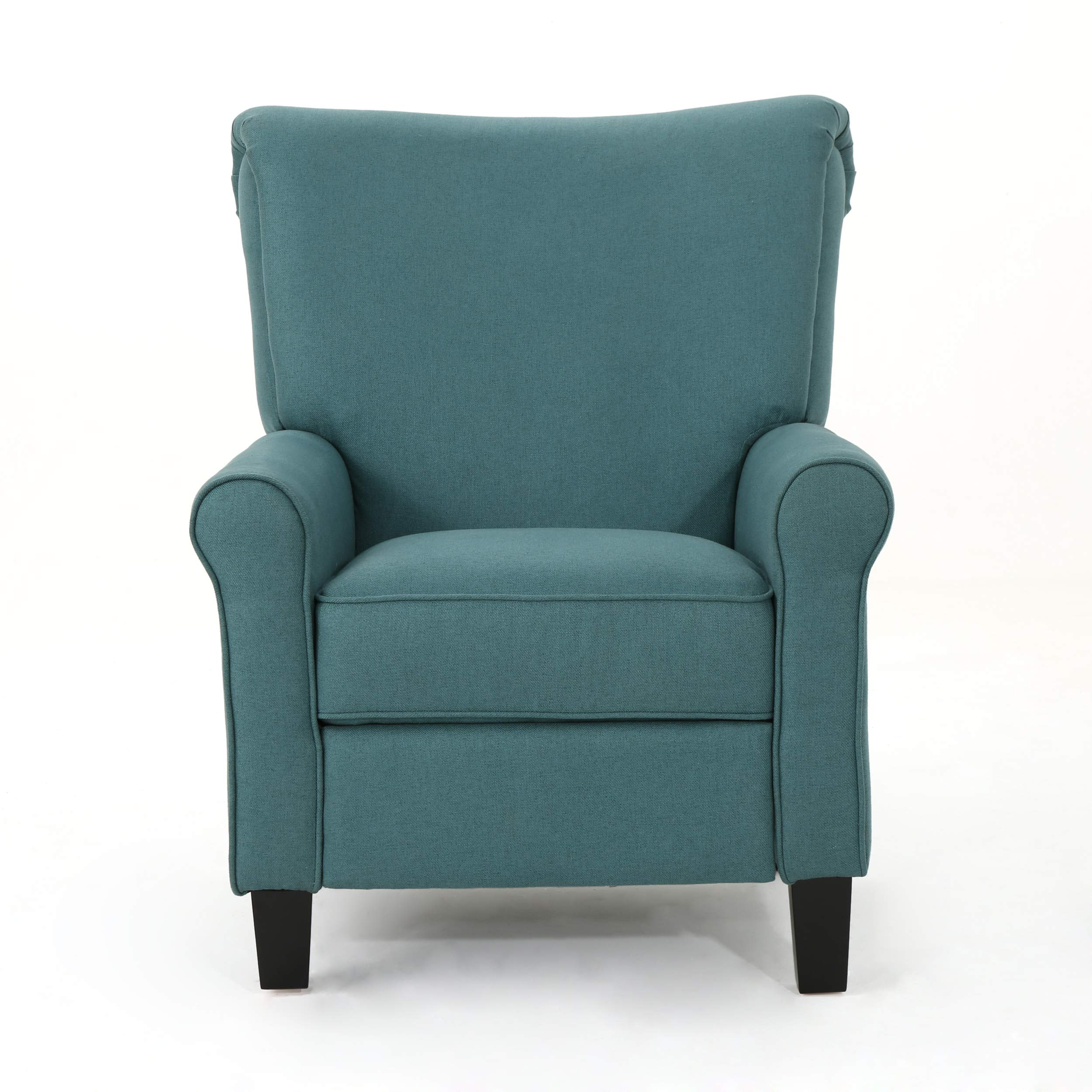 Christopher Knight Home Thalia Traditional Fabric Recliner, Dark Teal / Dark Brown