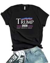 Womens 2020 Donald Trump Shirt - US Flag Keep America Great Merchandise