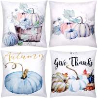 Jetec 4 Pieces Pumpkin Decorative Pillow Cover Pillow Case Sofa Back Throw Cushion Cover for Autumn Thanksgiving Day Christmas Halloween Day Home Decoration, 18 by 18 Inches (Color Set 2)