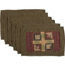 """VHC Brands Rustic & Lodge Tabletop & Kitchen-Tea Cabin Quilted Placemat Set of 6, 12"""" x 18"""", Moss Green"""