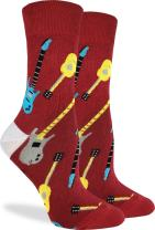 Good Luck Sock Women's Red Guitar Socks - Red, Adult Shoe Size 5-9