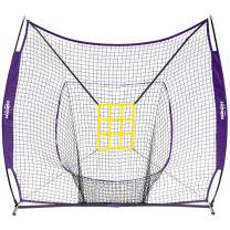 Zupapa 7 by 7 Feet Baseball Softball Hitting Pitching Net with Strike Zone, Baseball Backstop Practice Net for Batting Catching for All Skill Levels