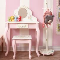 Fantasy Fields - Bouquet Thematic Wooden Kids Classic Makeup Vanity Table and Stool Set with Real Mirror, Pretend Play Set for Girls Bedroom, Non-Toxic, Lead-Free Water-Based Paint
