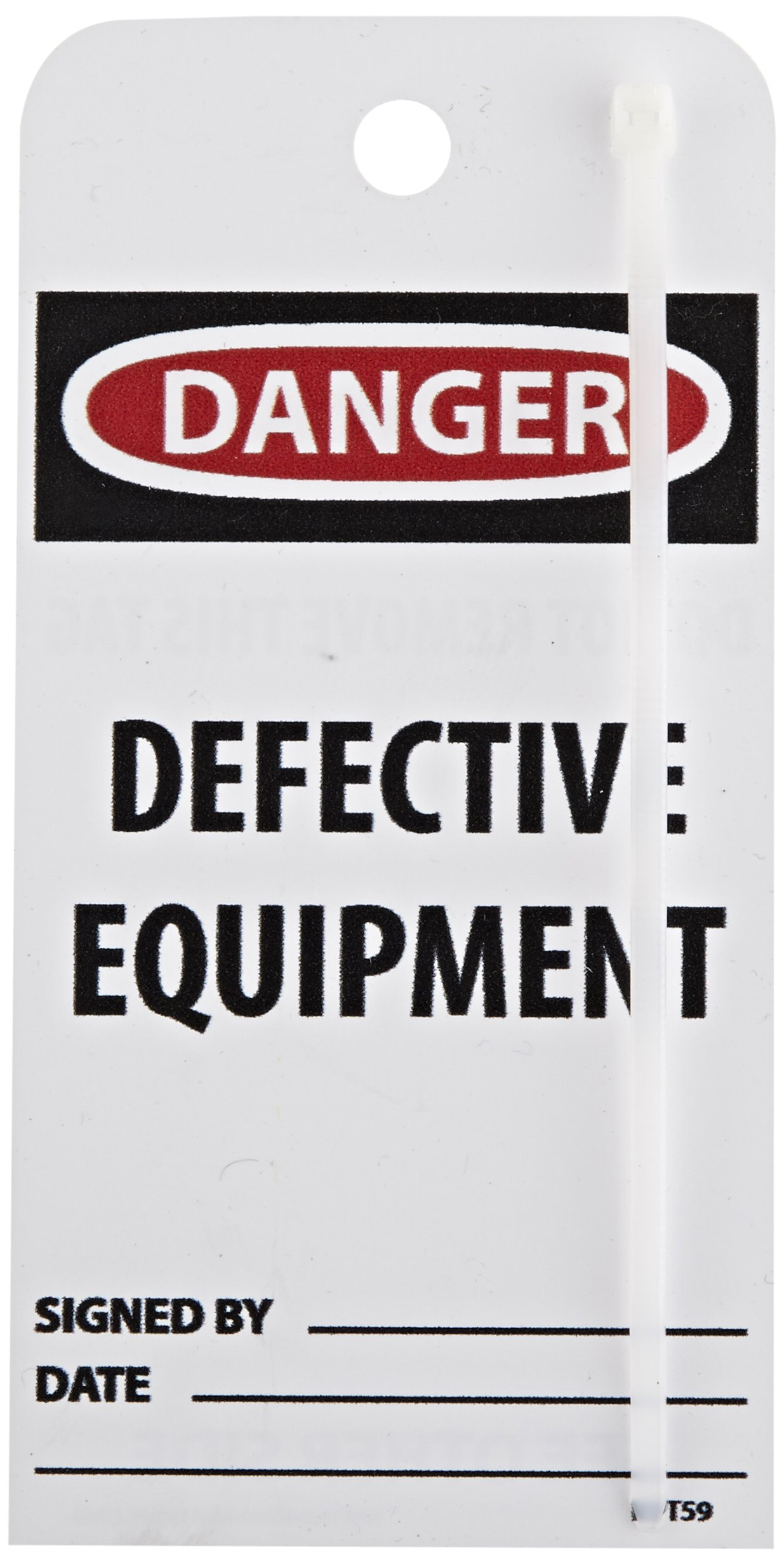 """NMC RPT59""""Danger - DEFECTIVE Equipment"""" Accident Prevention Tag, Unrippable Vinyl, 3"""" Length, 6"""" Height, Black/Red on White (Pack of 25)"""