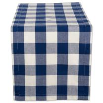 DII Classic Gingham Check Tabletop Collection 100% Cotton Machine Washable, for Spring, Summer, Everyday Use, Entertaining and Family Gatherings, Table Runner, 14x108, Navy & Cream