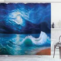 """Ambesonne Ocean Shower Curtain, Moonlight Over Wavy Sea Dramatic Sky Beach Landscape Picture in Oil Painting Effect, Cloth Fabric Bathroom Decor Set with Hooks, 84"""" Long Extra, Navy White"""