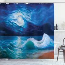 """Ambesonne Ocean Shower Curtain, Moonlight Over Wavy Sea Dramatic Sky Beach Landscape Picture in Oil Painting Effect, Cloth Fabric Bathroom Decor Set with Hooks, 75"""" Long, Navy White"""