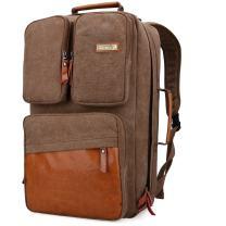 WITZMAN Men Travel Backpack Vintage Laptop Bag Rucksack Casual Convertible Daypack (6617 Brown)